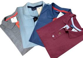 Kit 06 Camisa Masculina Gola Polo Piquet Algodão Do P Ao Gg