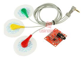 Sensor Cardíaco Arduino Ad8232 Ecg + Cabo Triplo E Eletrodo