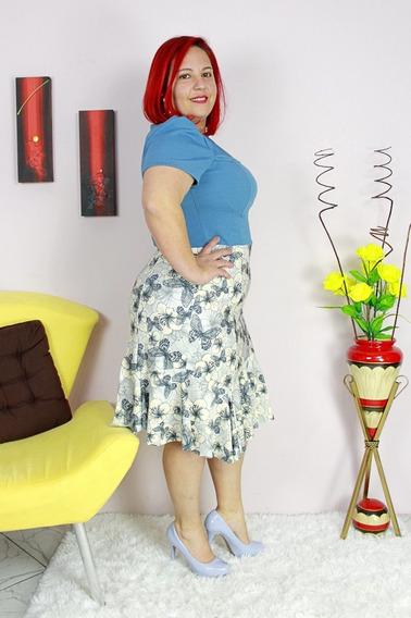 Vestido Midi Sino Bicolor Moda Evangélica Plus Size Go27