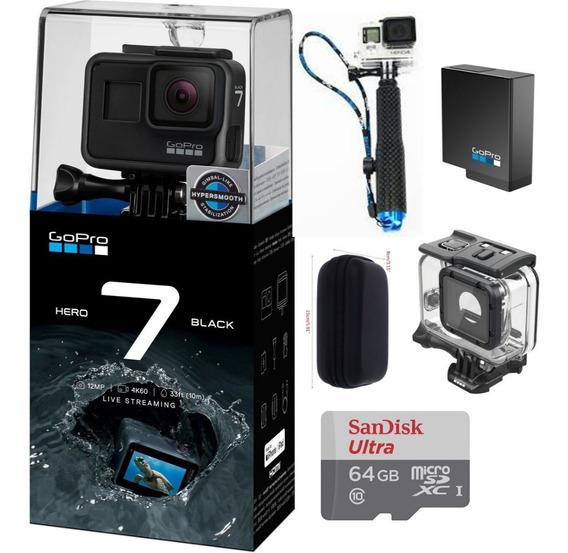 Gopro Hero7 Black+cartão 64gb+case+bastão+caixa Est+ Bateria