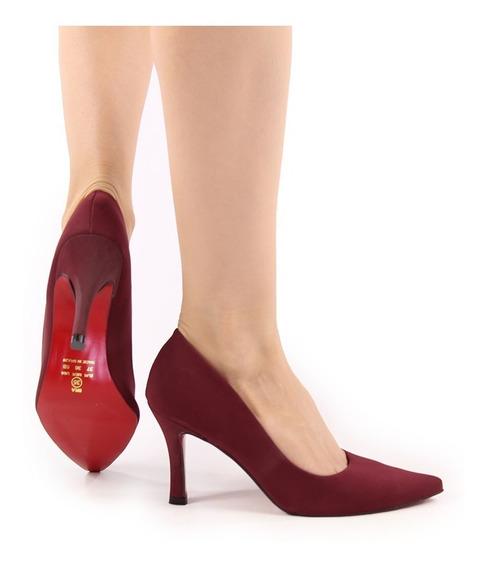 Sapato Feminino Scarpin Luxo Confort Bico Fino Marsala