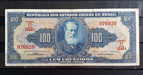 Cedula 100 Cruzeiros Estampa 1a Mbc