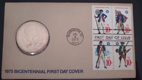 1775- Revolução Americana Com Selos E Moeda Comemorativa