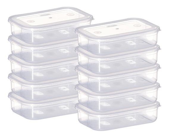 Conjunto De Pote Plástico Retangular Cozinha 10 Peças 500ml