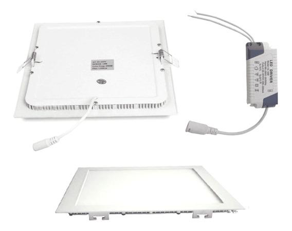 Painel Led Plafon Embutir Slim Quadrado 18w Branco Quente
