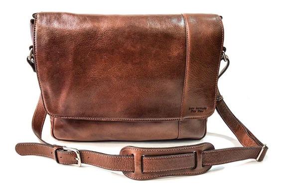 Morral Hombre Cuero Bolso Viaje Porta Notebook 15.6´ Correa Ajustable Modelo 0992