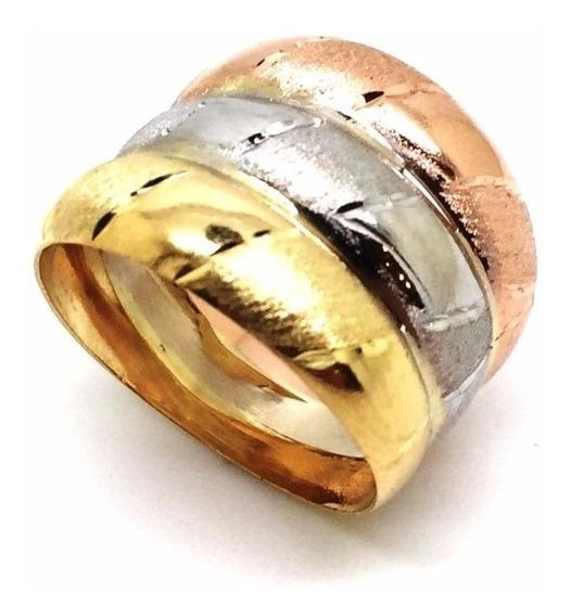 Anel Três Ouros Diamantado Belissima Feminino 18k 21495