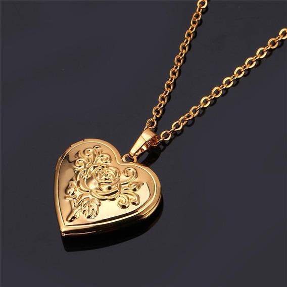 Colar Feminino Folheado Ouro 18k Coração Flor Relicário C167