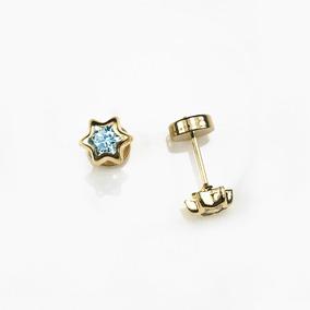 600d9852f3ea Par Aritos Abridores Oro 18k Estrella Cubic Colores Bebe
