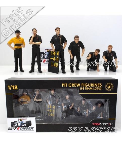 1/18 Diorama 6 Mecânicos Lotus Senna & Fittipaldi Pit Stop