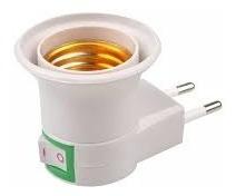 Kit 10 Soquete Adaptador Bocal E27 De Tomada Com Interruptor