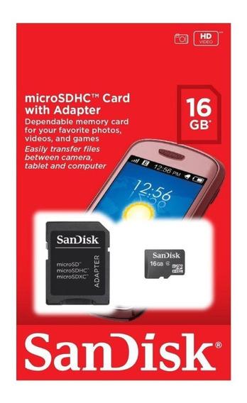 Cartão Memória Micro Sd 16gb Classe 4 + Adaptador Lacrado