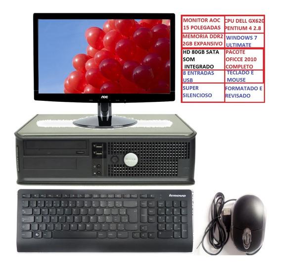 Cpu Dell Completo+ Monitor+som+teclado+ Mouse