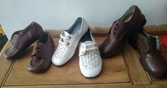 Lote De Zapatos Nene Cuero Antiguo Retro