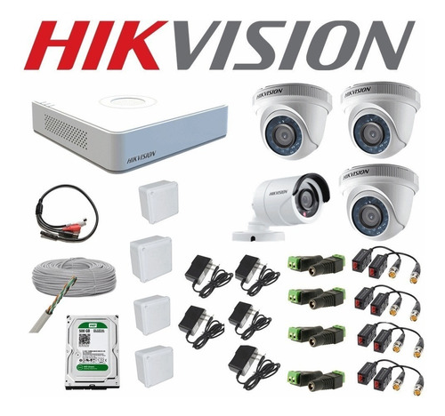 Kit 4 Camaras De Seguridad Full Hd 1080p + Disco Hikvision