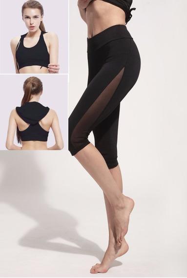 Conjunto Dama Fitness Negro. Top Y Legging
