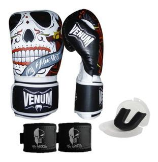 Kit Boxe Muaythai Venum Santa Muerte 3.0 Black 12oz