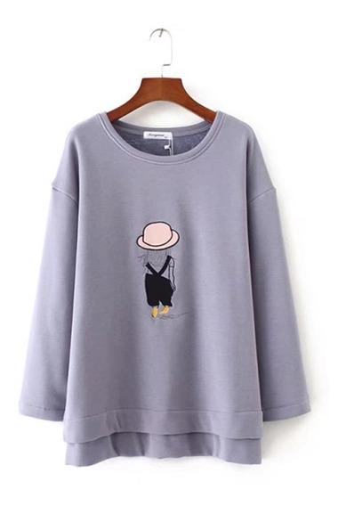 Camisa Para Mujer De Terciopelo Grueso De Dibujos Animados