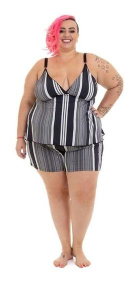 Blusa Alcinha Pijama Plus Size Listrado Wonder Size Fluity