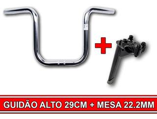Kit Conforto De Bicicleta Guidão Alto 29 Cm + Mesa 22.2mm Preta Super Confortável Volte A Pedalar