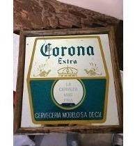 Cuadro Espejado Cerveza Corona Antiguo Impecable! No Foto.
