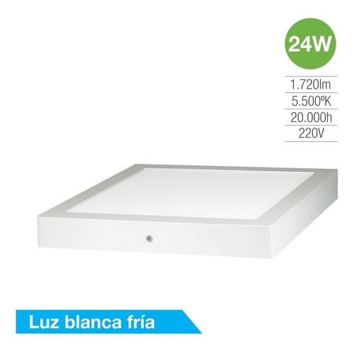 Panel Led 24w Cuadrado Aplique Plafon Frio Silverlight