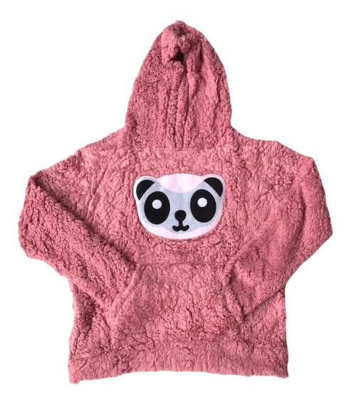 Blusa Frio Marrom Feminina Casaco Pelúcia Inverno Panda Lisa
