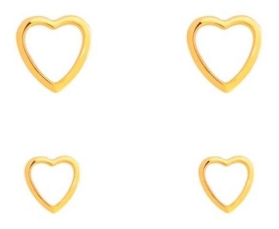 Kit Com 2 Brincos Coração 1 E 2 Furo Banhado A Ouro 18k