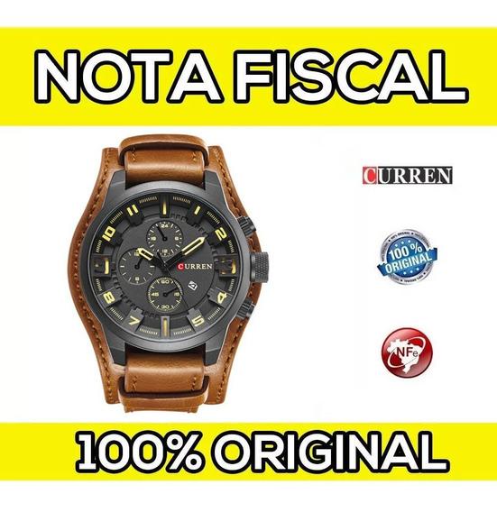 Relógio Masc Curren Original Couro C/ Nota Fiscal Top