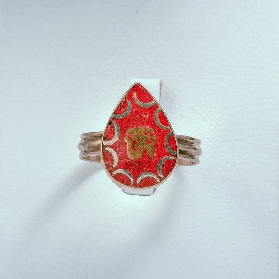 Anillo Om Bronce Coral 12mm.