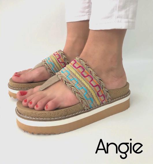 Sandalias De Mujer Ojota Verano Con Plataforma Indu Angie