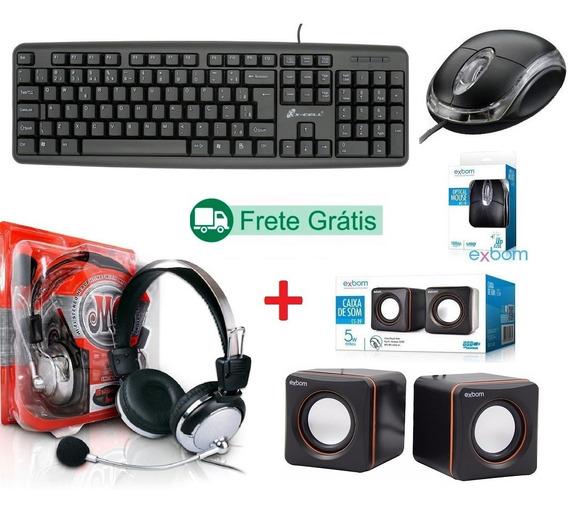 Kit Gamer Teclado + Mouse Caixa Som + Headset Com Microfone