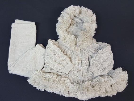 Conj. Eskimó ( Casaco + Calça) Tricot Bebê Bege