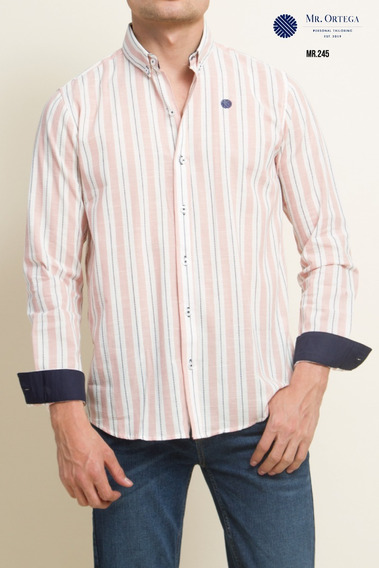 Camisa Mr. Ortega Caballero Algodón Rayas Rosa Mr.245