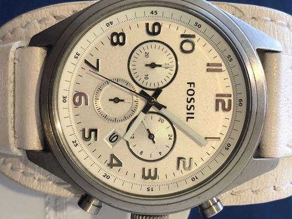 Relógio Fossil Bq1035 Pulseira De Couro Branco