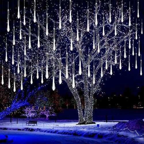 8 Luces De Lluvia De Meteoritos Blanco Frio 144 Led
