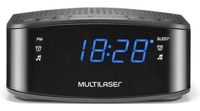 Radio Relógio Digital Alarme Despertador Fm 3w Rms Preto