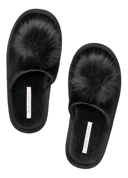 Pantuflas Negra Velour Pompom Plush 37-38 Victoria