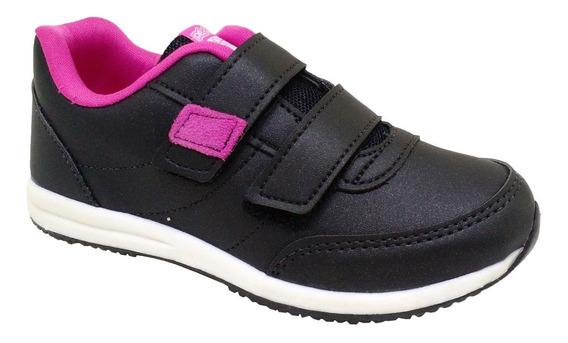 Tênis Feminino Basic Kids Preto Pink 45050-480 Pé Com Pé