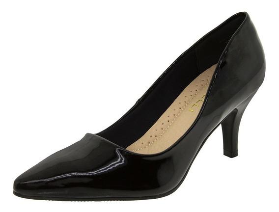 Sapato Feminino Scarpin Salto Médio Verniz/preto Facinelli