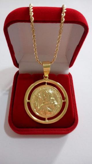 Cordão 45cm Banhado A Ouro Com Pingente De São Francisco