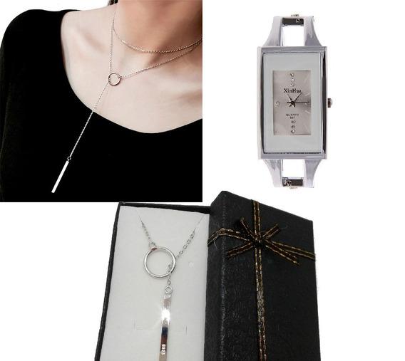 Relogio Bracelete Feminino E Colar Gravatinha Prata 925
