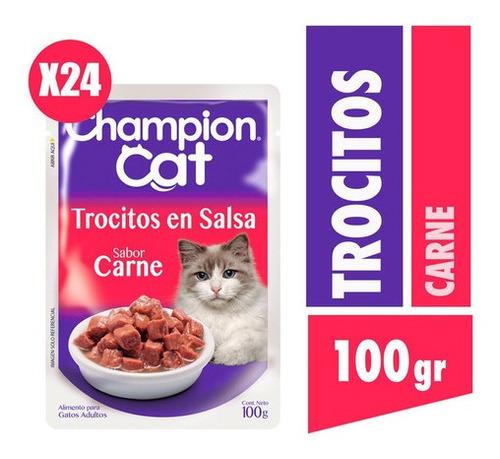 Champion Cat Trocitos En Salsa Sabor Carne  24x100g