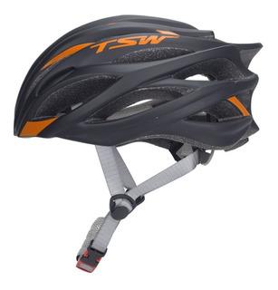 Capacete De Ciclismo Tsw Speed Team Preto /laranja - Tam. M