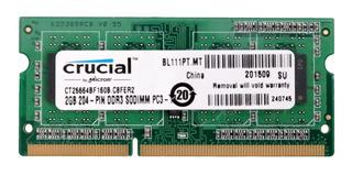 Memoria Ddr3 2gb Crucial 1600mhz P/ Laptop Pc3-12800s 1.35v