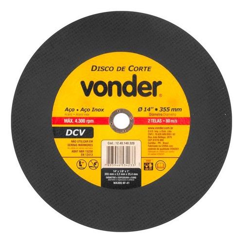 Disco Corte Metal Inox Policorte 14 Dcv Vonder 355 X 1/8 X 1
