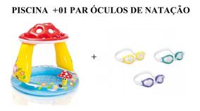 Piscina Inflavel Cogumelo + 01 Par De Óculos De Natação