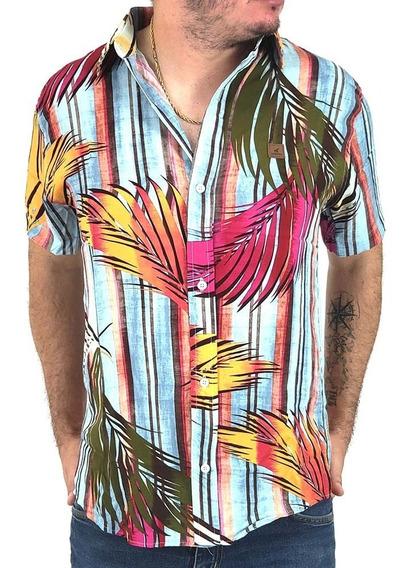 Camisa Casual Estampada Floral Masculina De Mangas Curtas