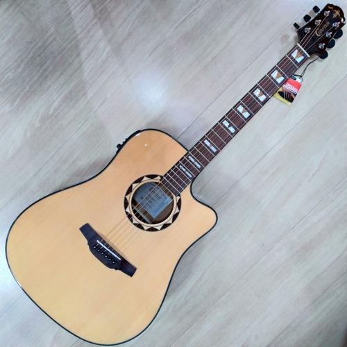 Imagem 1 de 10 de Violão Aço Folk Crafter Hd-520ce Equalizador Cr-t Nv C/ Bag