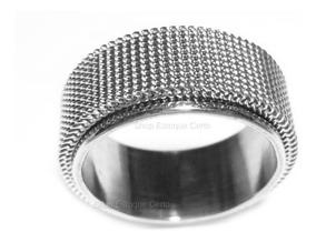Anel Aliança Aço Inox Prata C/ Malha De Aço Unisex 10mm